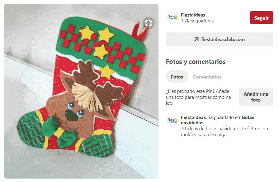 como hacer botas navideñas de fieltro con patrones, tablero de pinterest de fiestasideas