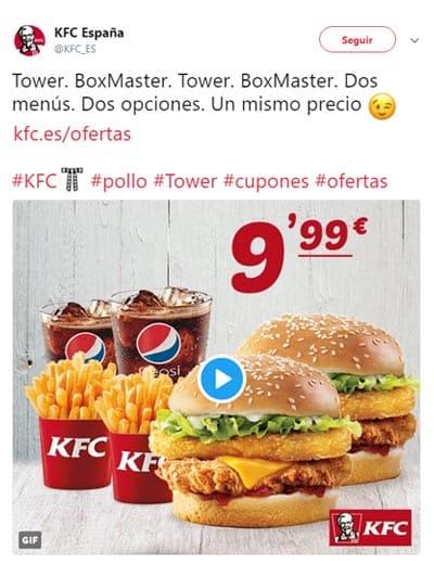 Ejemplo de tuit de KFC España, venta de producto