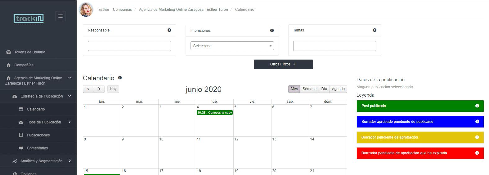 Calendario para Linkedin de Trackin