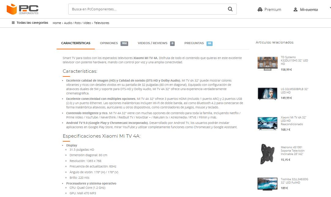 ficha producto pc componentes descripción larga