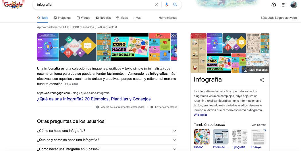 Búsqueda infografías Google